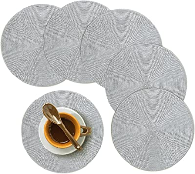 Beige Homcomoda Woven Place Mats for Kitchen Table Braided Washable Heat Resistant Round Placemats for Dinner Table Set of 6