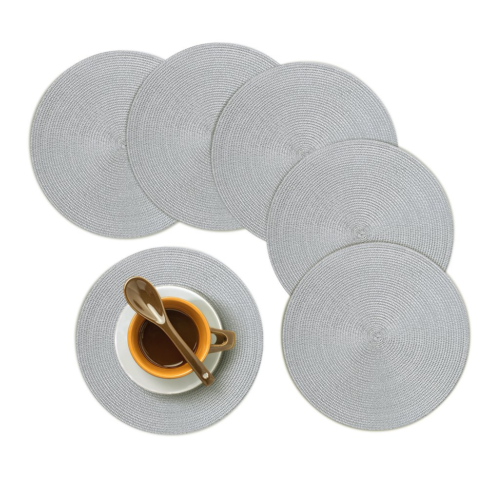 Homcomoda Round Placemats, Insulation Braided Edge Round Table Mats for Dining/Kitchen Table Placemats Set of 6, 15'' Gray