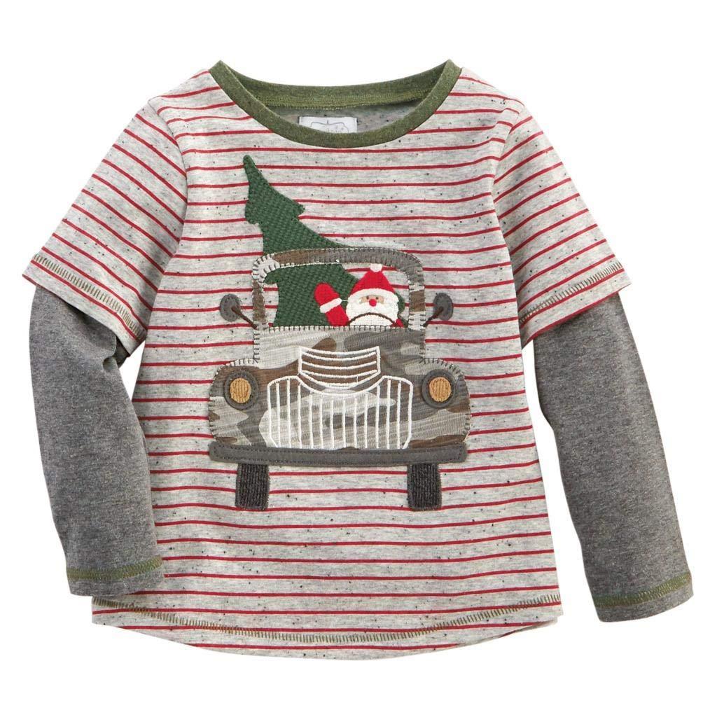Mud Pie Kids Boys Sheldon Christmas T-Shirt Santa in Red Truck Tee Shirt Medium (2T-3T) by Mud Pie
