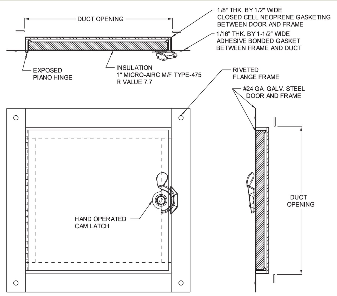 Acudor HD-5070-F Duct Access Door 10 x 10 For Fiberglass Ducts