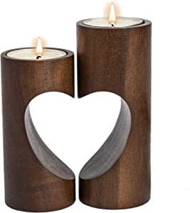 ChasBete Wood Candle Holders for Tables, Tealight Candle Holder Centerpiece, Heart-Shaped Decor Wood Candle Holders Set of 2-Dark