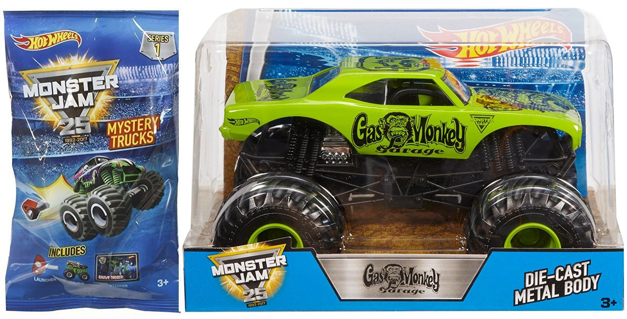 AYB Products Hot Wheels Gas Monkey MONSTER JAM 2018 Green Truck 1 24 Mini Mystery Trucks Blind Bags Series 1 with Launcher 25th Anniversary 2017