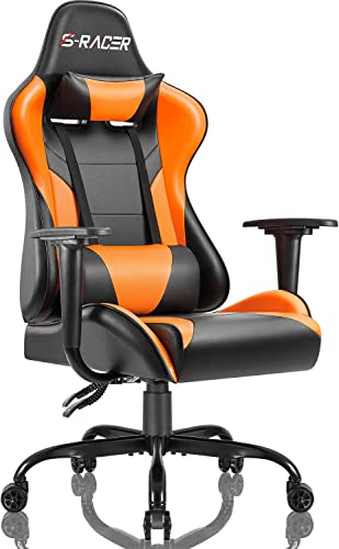 Homall Gaming Office Chair Computer Chair High Back Racing Desk Chair PU Leather Adjustable Seat Height Swivel Chair Ergonomic Executive Chair with Headrest for Adults Orange
