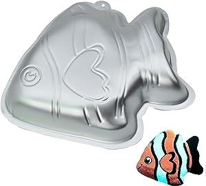 GXHUANG 9.45 inch Aluminum Alloy Fish Cakes Bake Mold Cake Baking Pan (Fish)