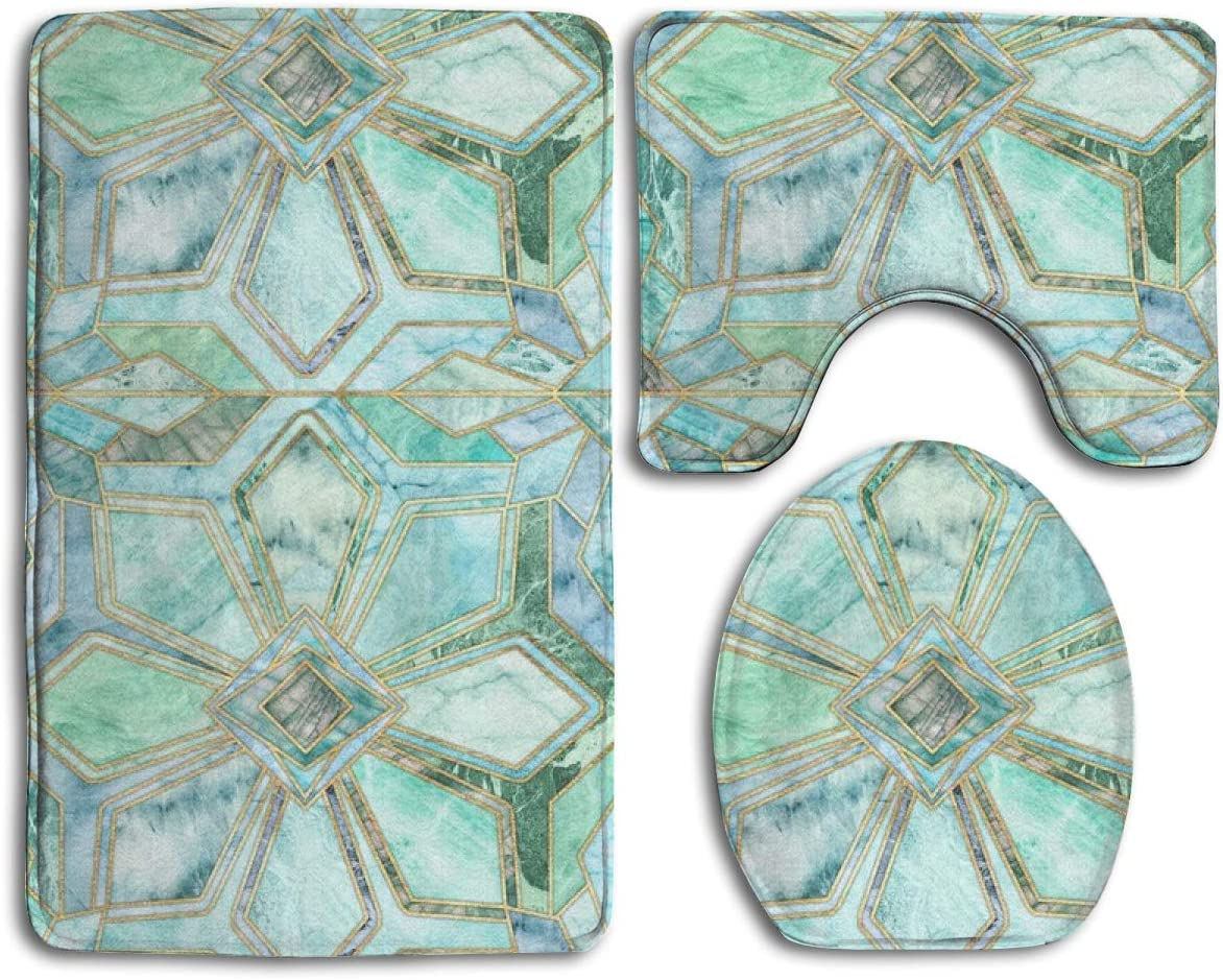 Geometric Gilded Stone Tiles In Mint And Jade Green 3pc Soft Comfort Flannel Bathroom Mats Non Slip Absorbent Toilet Seat Cover Bath Mat Lid Cover Set Carpet Rugs Amazon Co Uk Kitchen Home