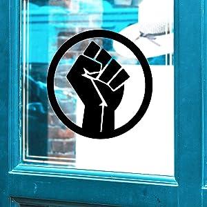 "Vinyl Wall Art Decal - Fist Circle - 17"" x 17"" - Empowerment Motivational Inspirational Black Power Symbol Sticker Equality Strength Icon Human Civil Rights Vinyl Wall Art Decor (Black)"