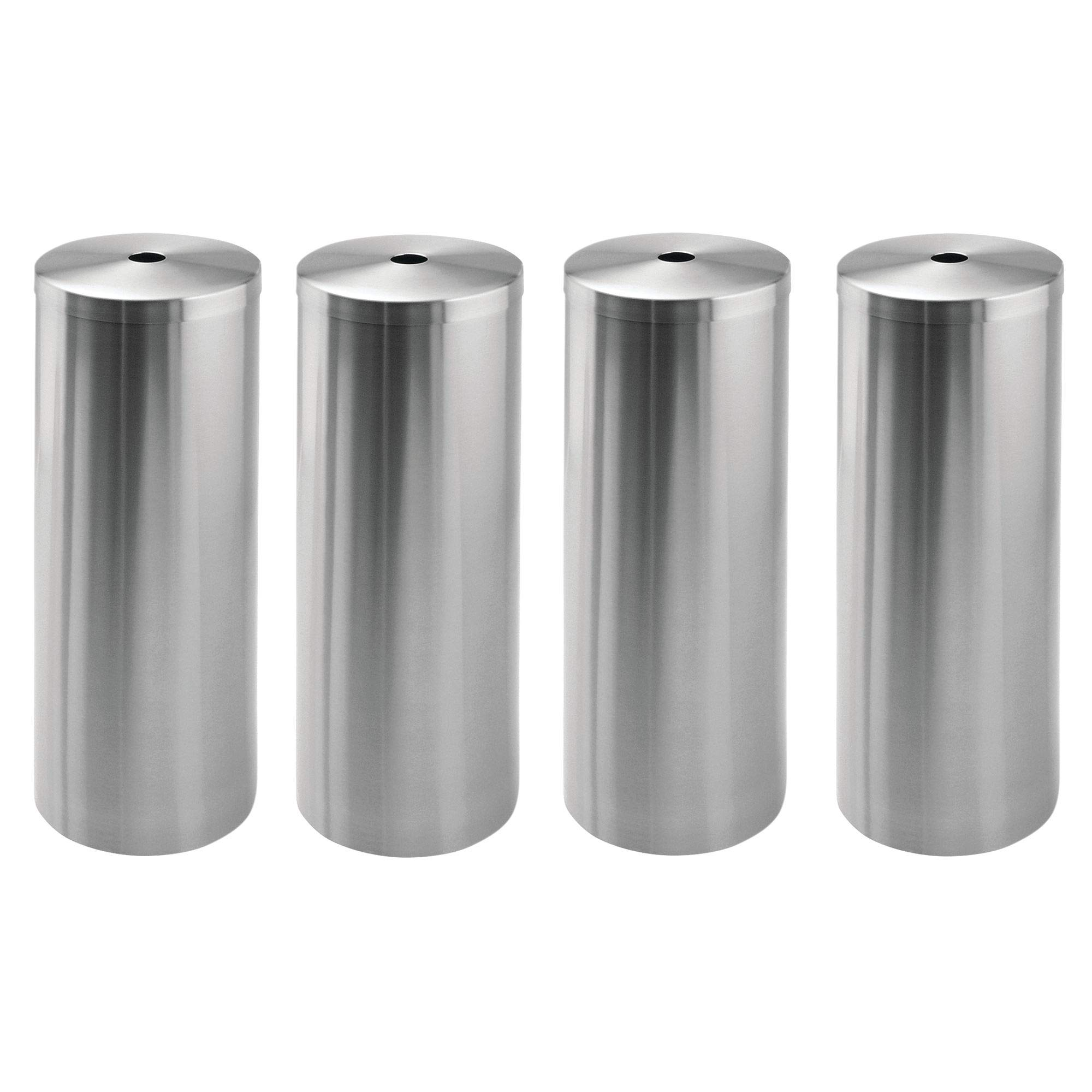 mDesign Free-Standing Toilet Paper Roll Canister for Bathroom - Pack of 4, Brushed Stainless Steel