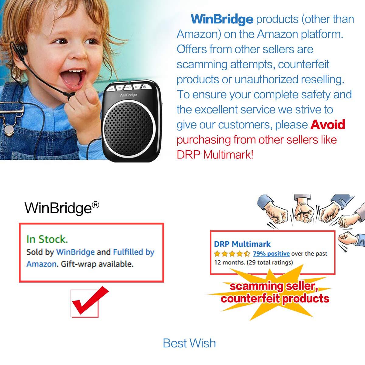 WinBridge WB001 Rechargeable Ultralight Portable Voice Amplifier Waist Support MP3 Format Audio for Tour Guides, Teachers, Coaches, Presentations, Costumes, Etc.-Black