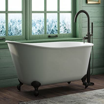 58u0026quot; Cast Iron Swedish Tub With NO Faucet Holes U0026 Oil Rubbed Bronze ...