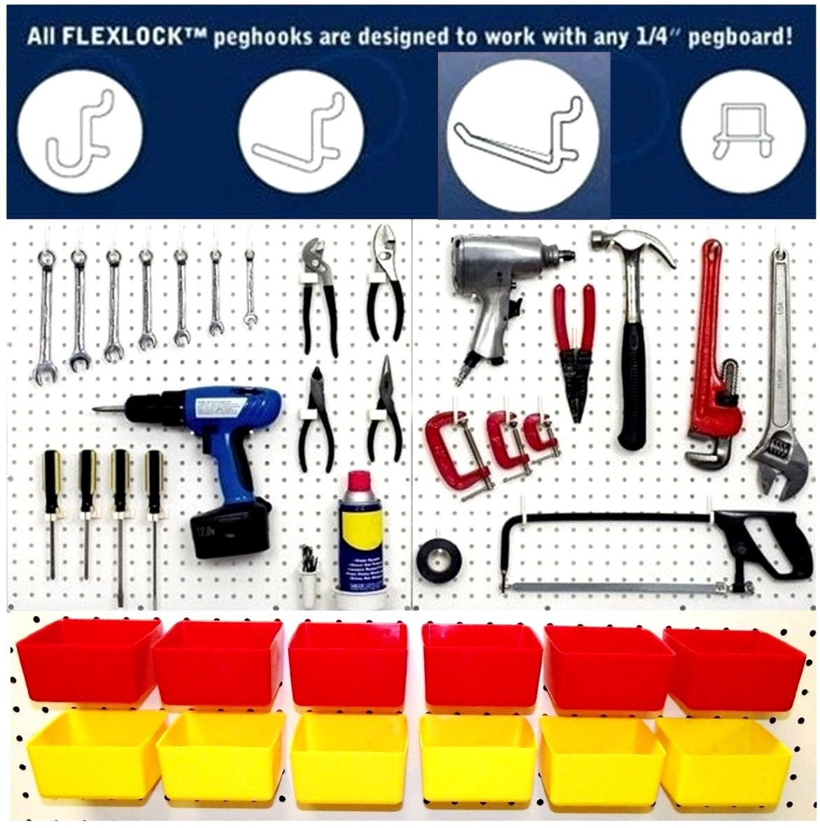 Wallpeg Craft & Tool Organizer Bins & Peg Hooks – 10 Red Bins and 80 Assorted Peg Hooks AM-90R 2 by WallPeg