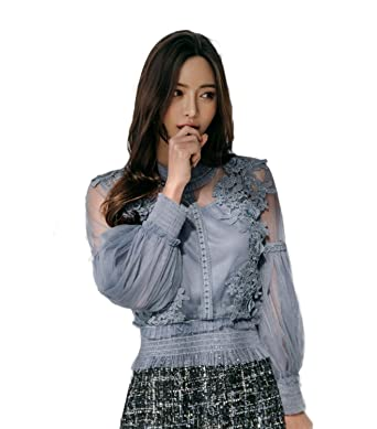 48512540a8d957 Women Summer Floral Lace Embroidered Transparent Net Bishop Sleeve ...