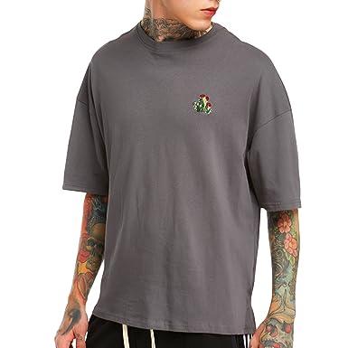 semen Homme T-Shirt Pull Manche Mi-Longue Top Haut Loose Broderie Cactus  Simple dccb5d1a0601
