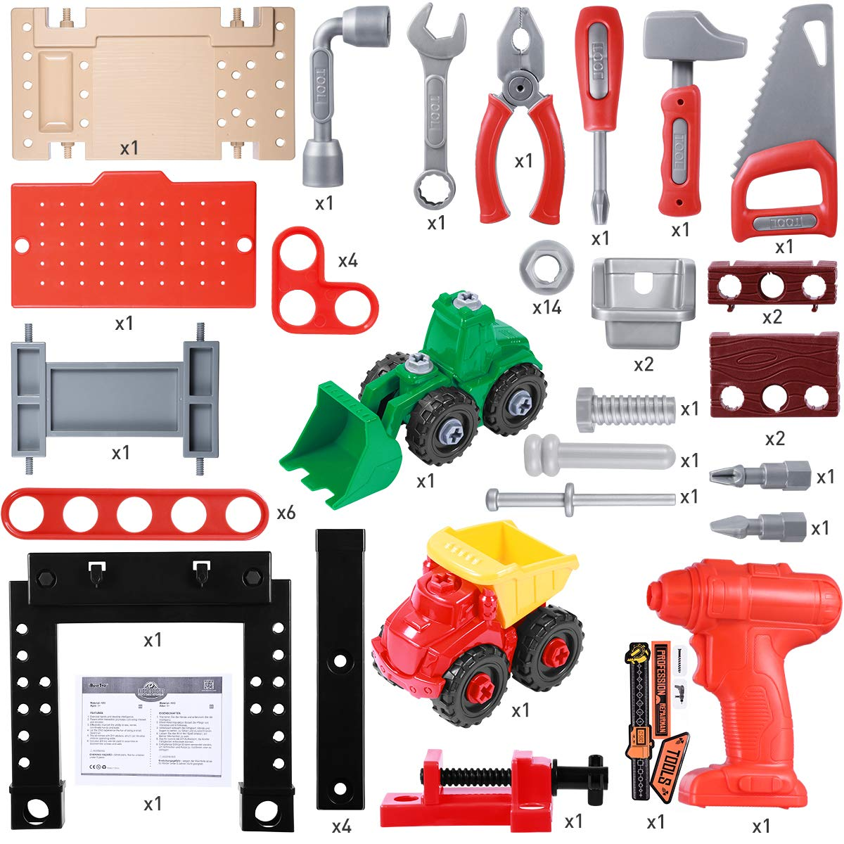 iBaseToy Toy Tool Bench, Kids Power Workbench, 91Piece Construction Toy Bench Set with Electric Drill, Educational Play & Pretend Play Workbench for Toddlers by iBaseToy (Image #2)