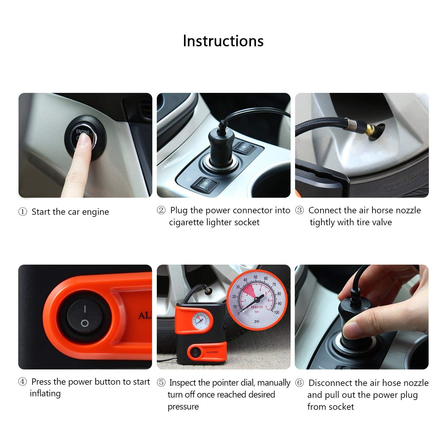 Alloyseed Portable Tire Inflator, Mini Air Compressor Pump with Built-in Gauge, 12V DC 100 PSI Tire Pump with Emergency Light for Car, Truck, Vehicle, Bicycle RV and Inflatables (Type1) by Alloyseed (Image #7)