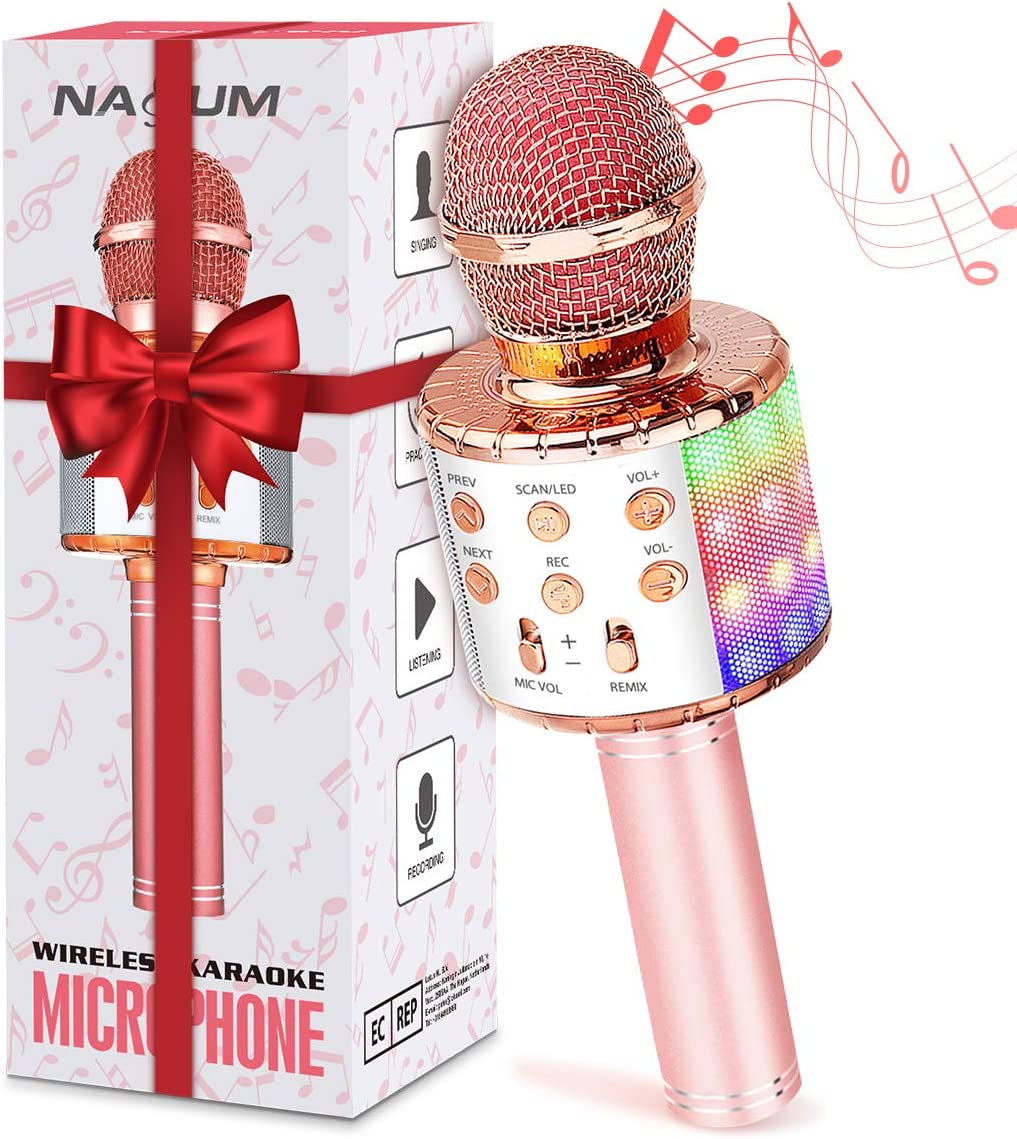 Karaoke Microphone for Kids, NASUM Karaoke Microphone with LED Light, 3 in 1 Bluetooth Karaoke Microphone Wireless, Best Gifts for Kids Singing Toy for Christmas Home Birthday Party (Rose Gold)