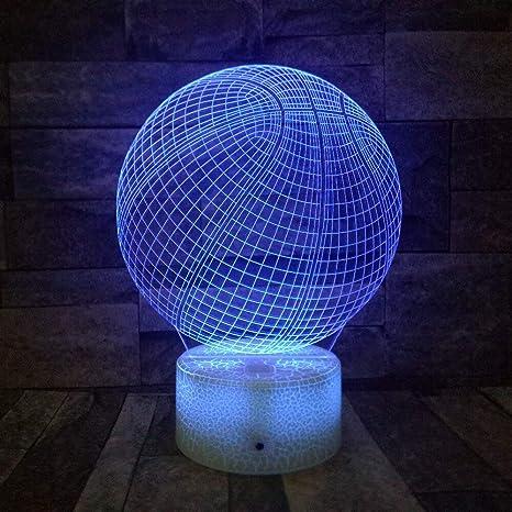 Lámpara de baloncesto 7 colores 3D Illusion Night Light Un ...