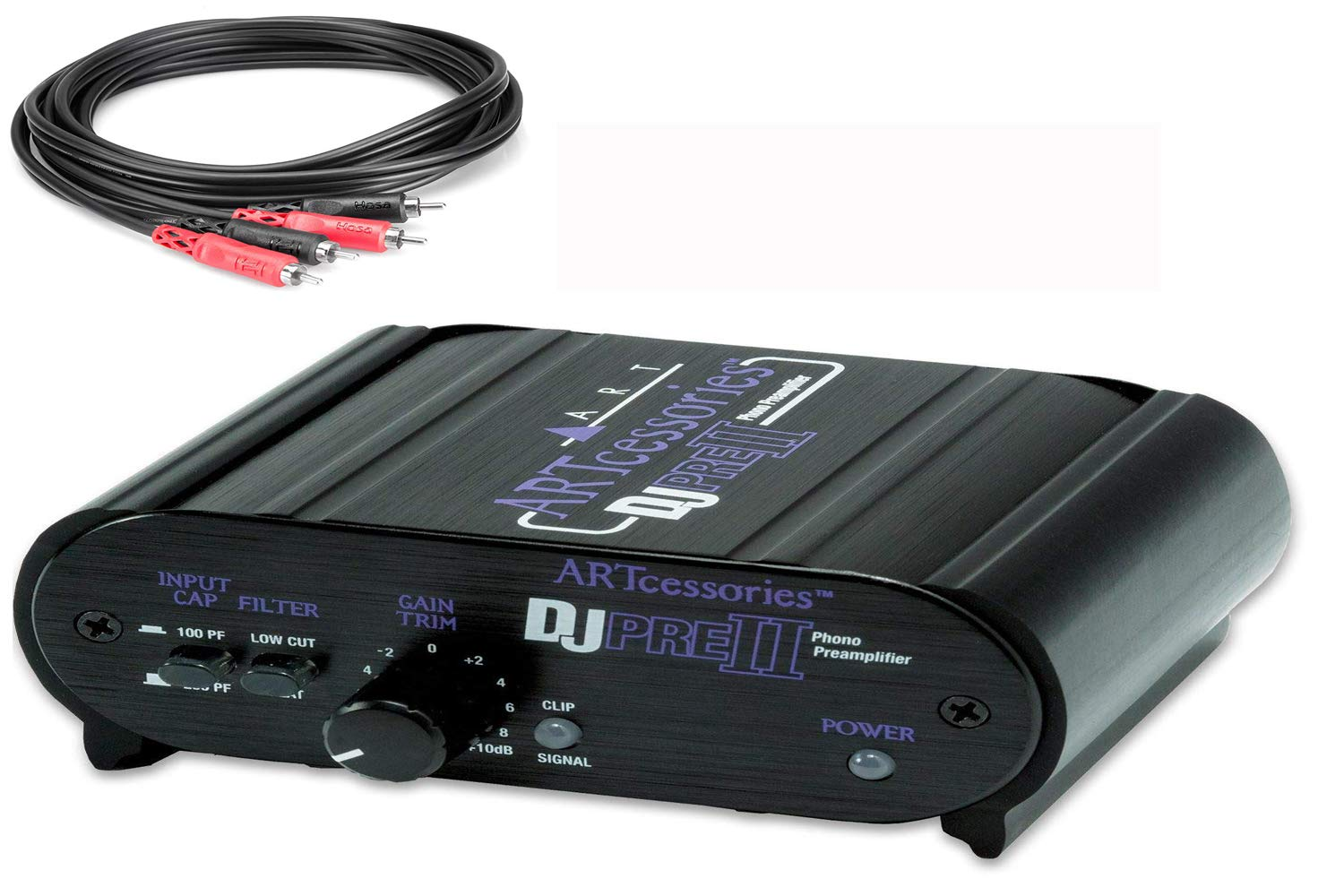 Art DJ Pre II Turntable Phono Preamplifier with Free Hosa RCA Male to RCA Male 3 Foot Cables by ART
