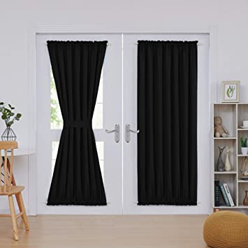 Amazoncom Deconovo French Door Panel Shade Blackout Rod Pocket