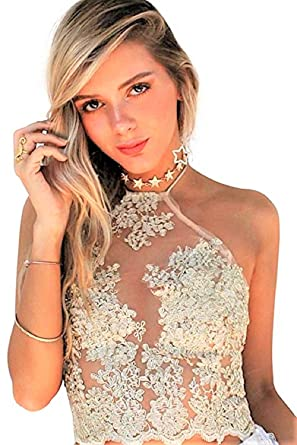 b7347ab03ee99 JeVenis Women's Halter Neck Tank Gold Crop Top Sleeveless Lace Vest Embroidered  Bustier Top (Large