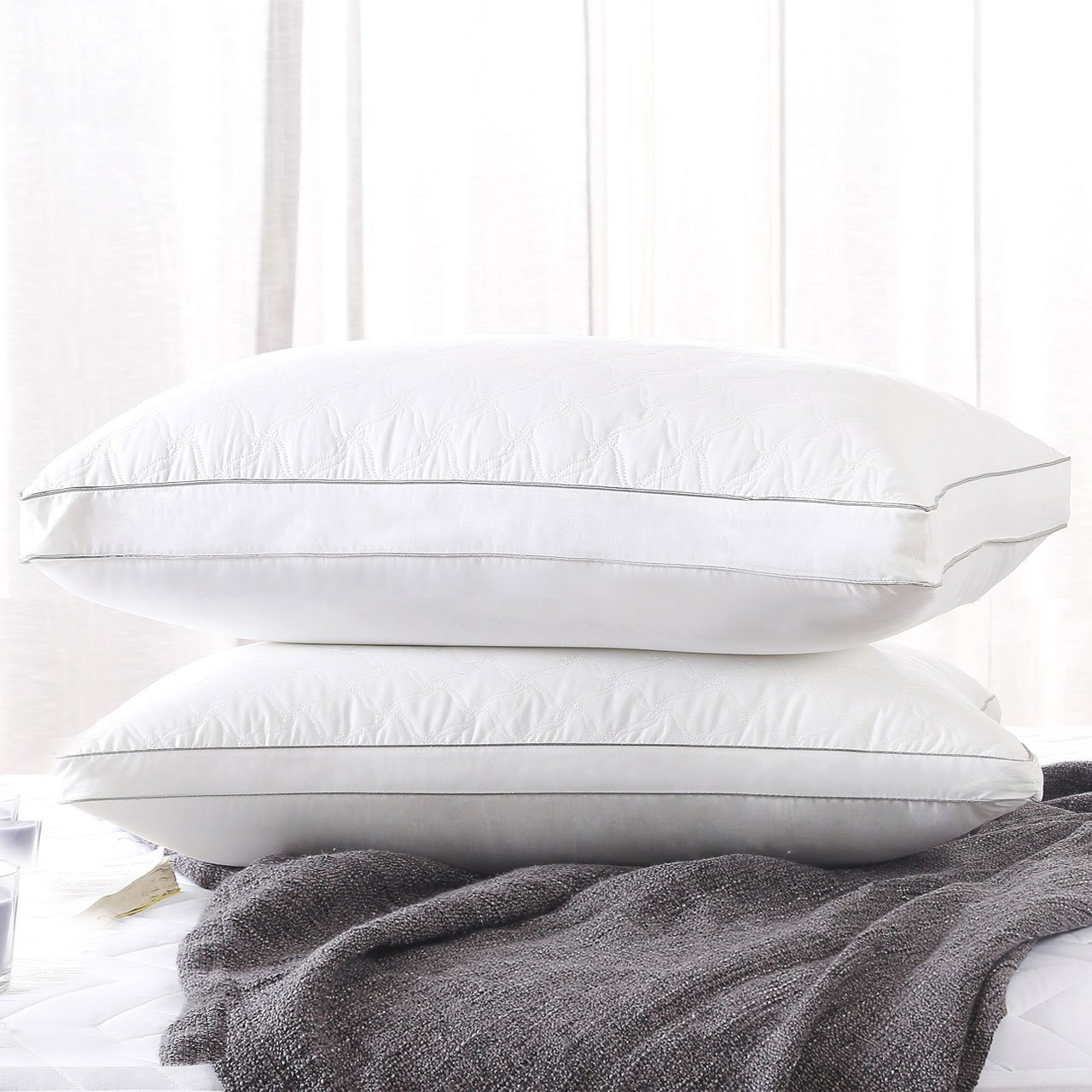 Fancy Collection 1 Pc Queen Size Soft Bed Pillows for Sleeping, Hypoallergenic Bedding Pillow, Anti-Mite Silk Cotton and Feather Velvet for Breathable and Softer Sleeping New Fancy Linen