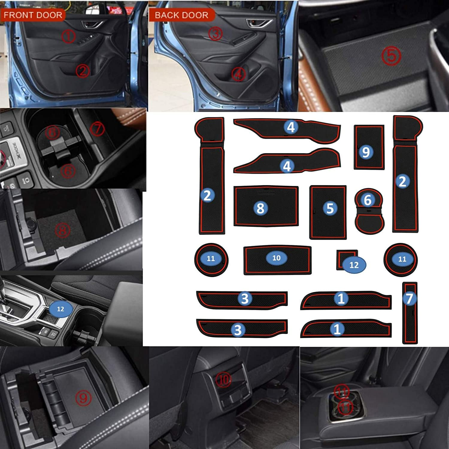 Door MustBee Custom Fit Cup and Console Liner 2019 2020 Subaru Forester Acessories