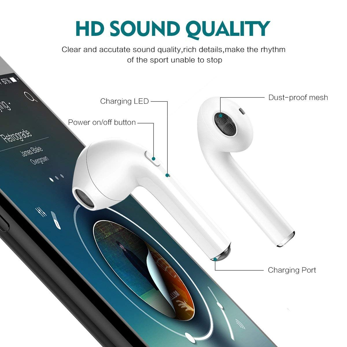 Auriculares inalámbricos Auriculares Bluetooth Auriculares Deportivos Auriculares intrauditivos Auriculares HiFi con micrófono, Compatible con Smartphone: ...