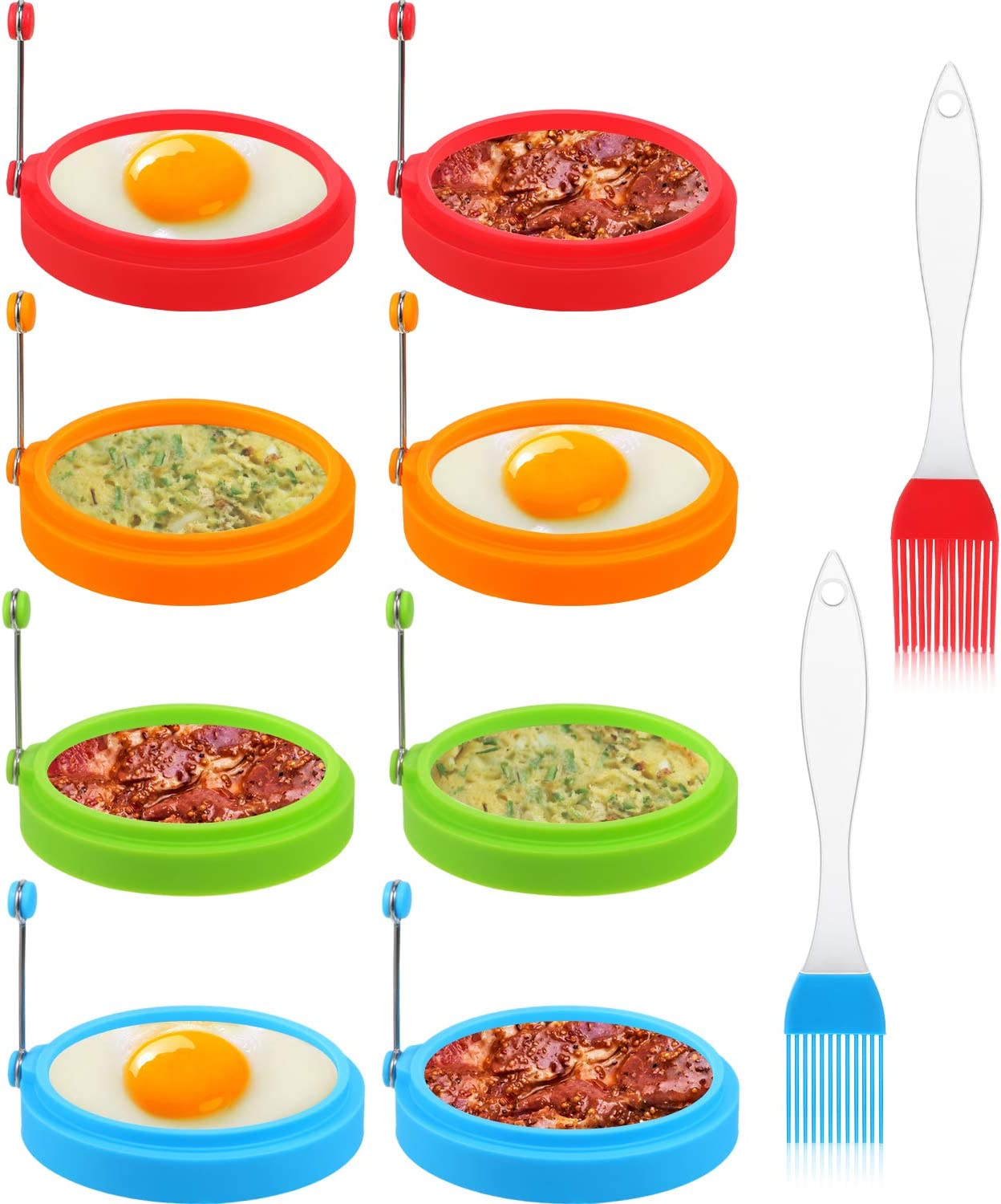 8 Packs Silicone Egg Rings, 4 Inch Food Grade Egg Cooking Rings, Non Stick Fried Egg Ring Mold, Pancake Breakfast Sandwiches, with 2 Silicone Brushes (Red, Orange, Blue and Green)