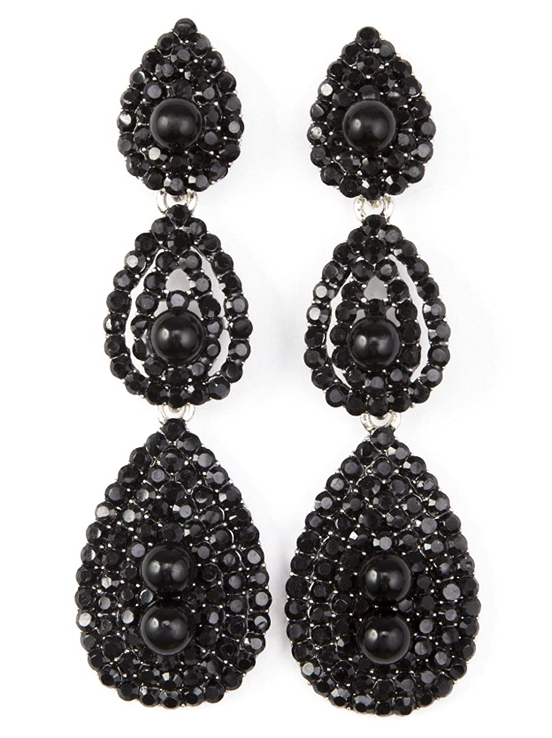e2370abd99e Amazon.com  Vijiv Gatsby Earrings Vintage 1920s Drop Chandelier Flapper Jewelry  Accessories Black One Size  Jewelry