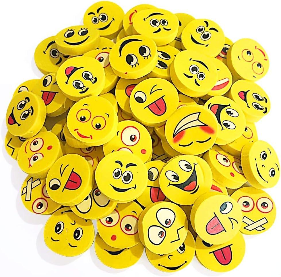 ArtCreativity Emoji Erasers, Pack of 70, Emoticon Smile Face Pencil Erasers in Assorted Designs, School Supplies for Children, Teacher Rewards, Classroom Gifts, Emoji Birthday Party Favors for Kids