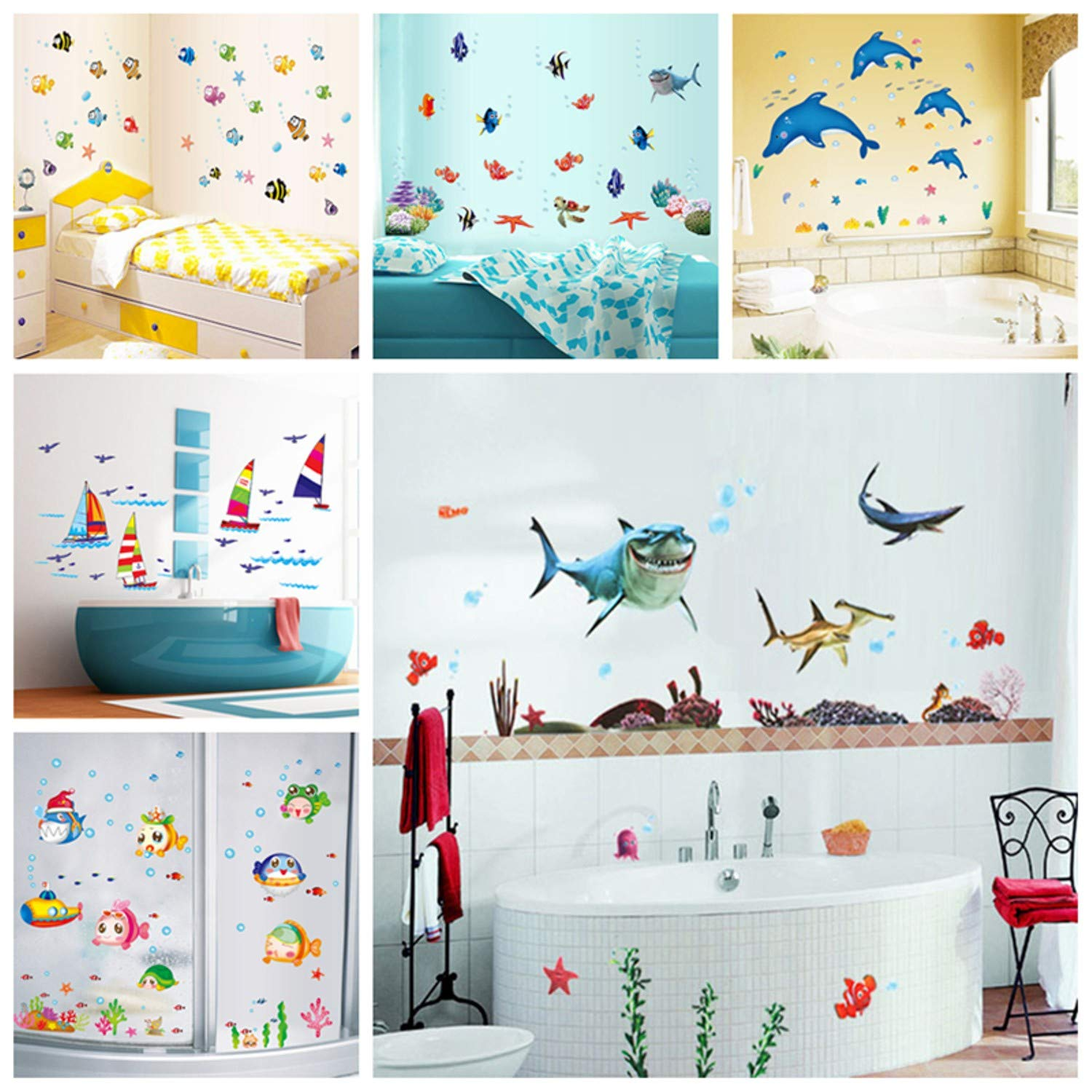 Amazon.com: Jewh Sticker Waterproof Wall Sticker - Water Resistant Wall Decal - Adhesive Children Home Decor - Mural Bathroom Fish Kids Room (xl7225): Home ...