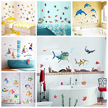 Amazon.com: Jewh Sticker Waterproof Wall Sticker - Water Resistant Wall Decal - Adhesive Children Home Decor - Mural Bathroom Fish Kids Room (SK7061): Home ...