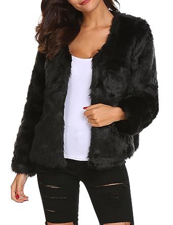 Damen Mantel Outwear Kunstpelz Winterjacke Fellimitatjacke Rundhalsausschnitt Soteer xeBodC