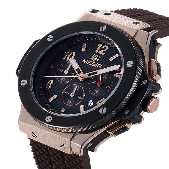 Megir - Reloj de pulsera para hombre, analógico, de cuarzo, deportivo, con silicona de calidad militar, ...