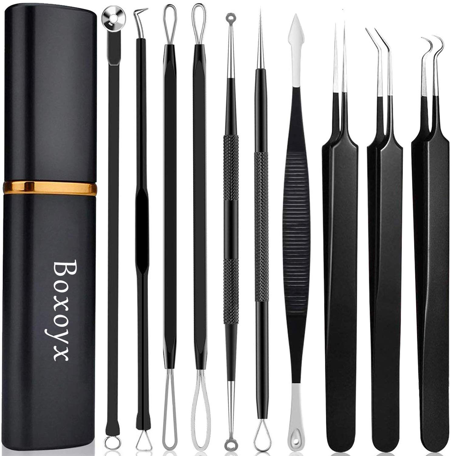 Pimple Popper Tool Kit - Boxoyx 10 Pcs Blackhead Remover Comedone Extractor Kit with Metal Case for Quick and Easy Removal of Pimples, Blackheads, Zit Removing, Forehead,Facial and Nose(Black)
