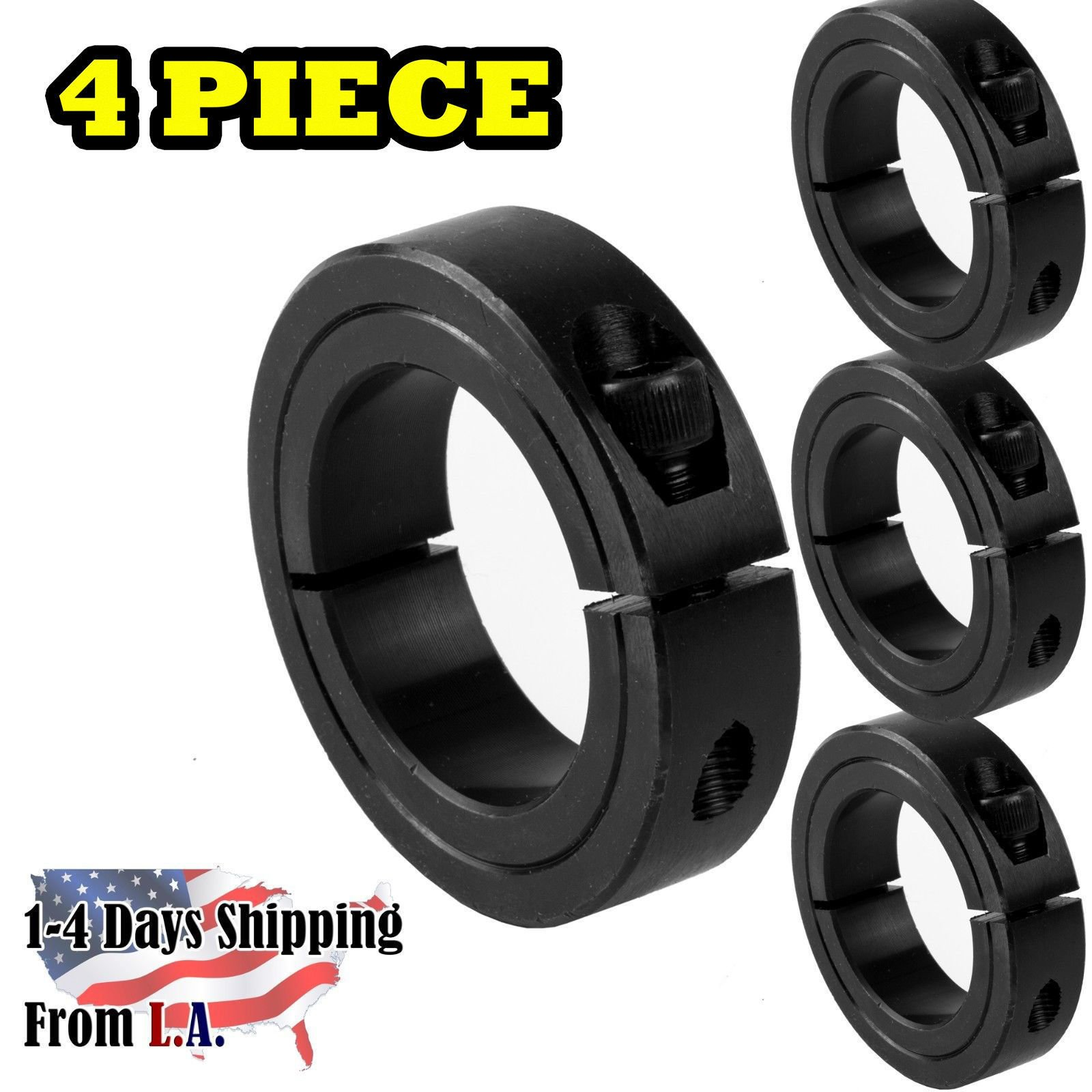1-1/2'' Bore Single Split Shaft Collar Black Oxide Set Screw Style (4 PCS)