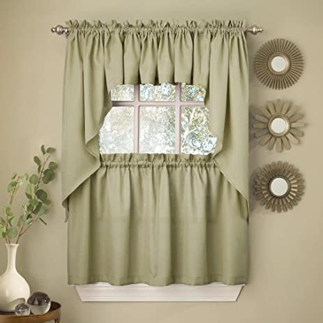 Fancy Sage Solid Opaque Ribcord Kitchen Curtains   Choice Of Tiers Valance  Or Swag