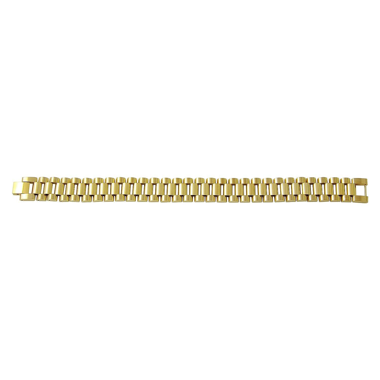 Amazon.com: Zilver de los hombres oro 18 K pulsera de acero ...