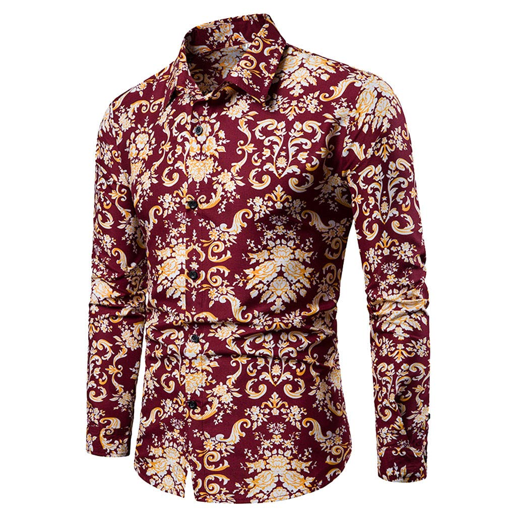 YOCheerful Mens Tops Casual Pattern Stand Collar Button Up T-Shirts Long Sleeve Shirts Daily Tops