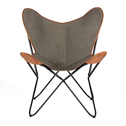 Madeleine Home Brevent BKF Butterfly Chair with Canvas Seating | Handmade with Solid Metal Frame |  sc 1 st  Amazon.com & Amazon.com: Madeleine Home Brevent BKF Butterfly Chair with Canvas ...