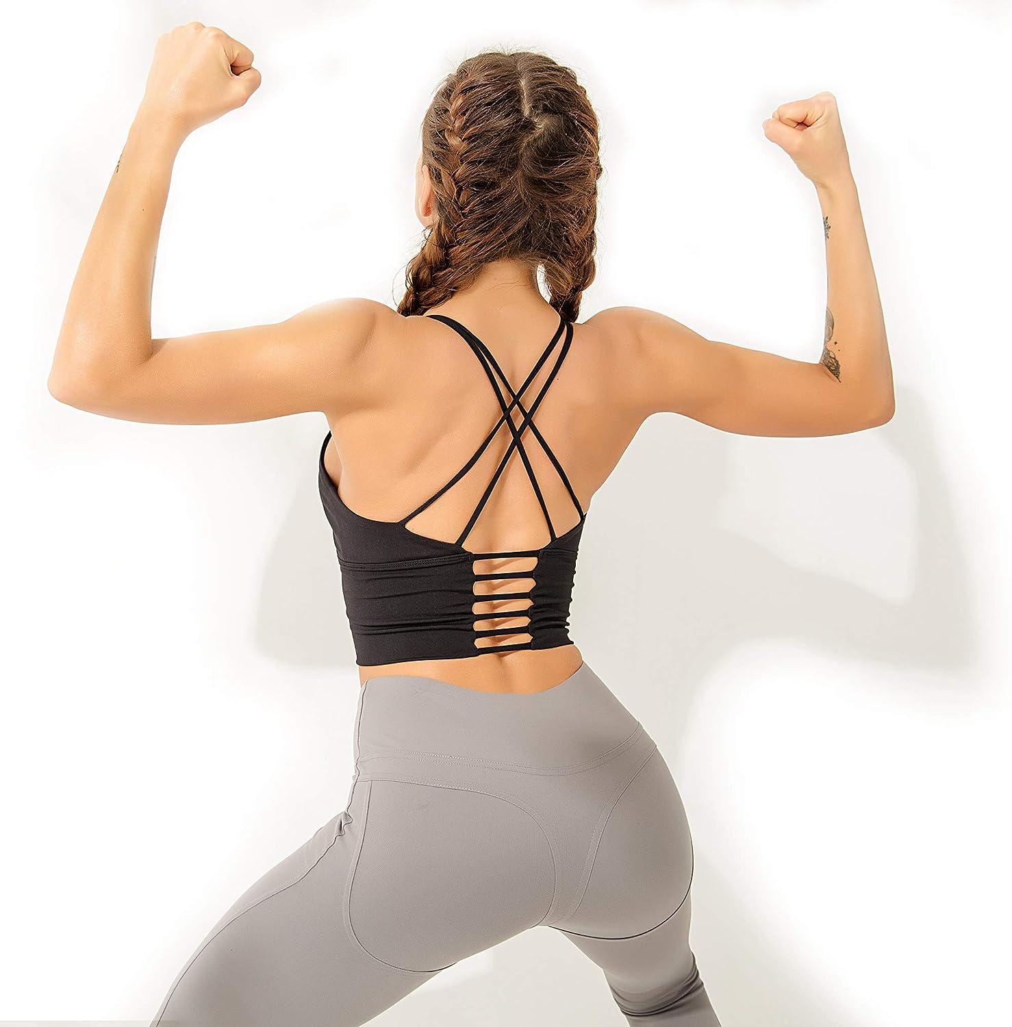 LOFHAS Womens Sports Bras Medium Support Yoga Bras Padded Workout Running Bras