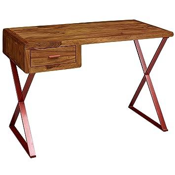 Finebuy Schreibtisch Thalar 118x78x55 Cm Sheesham Massivholz