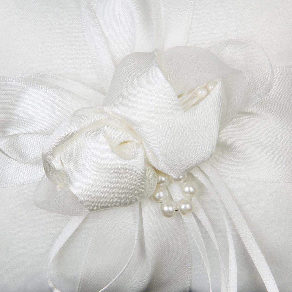 20cm Tinksky Ringkissen Sch/öne Elfenbein Bud Blume Hochzeit 20 wei/ß