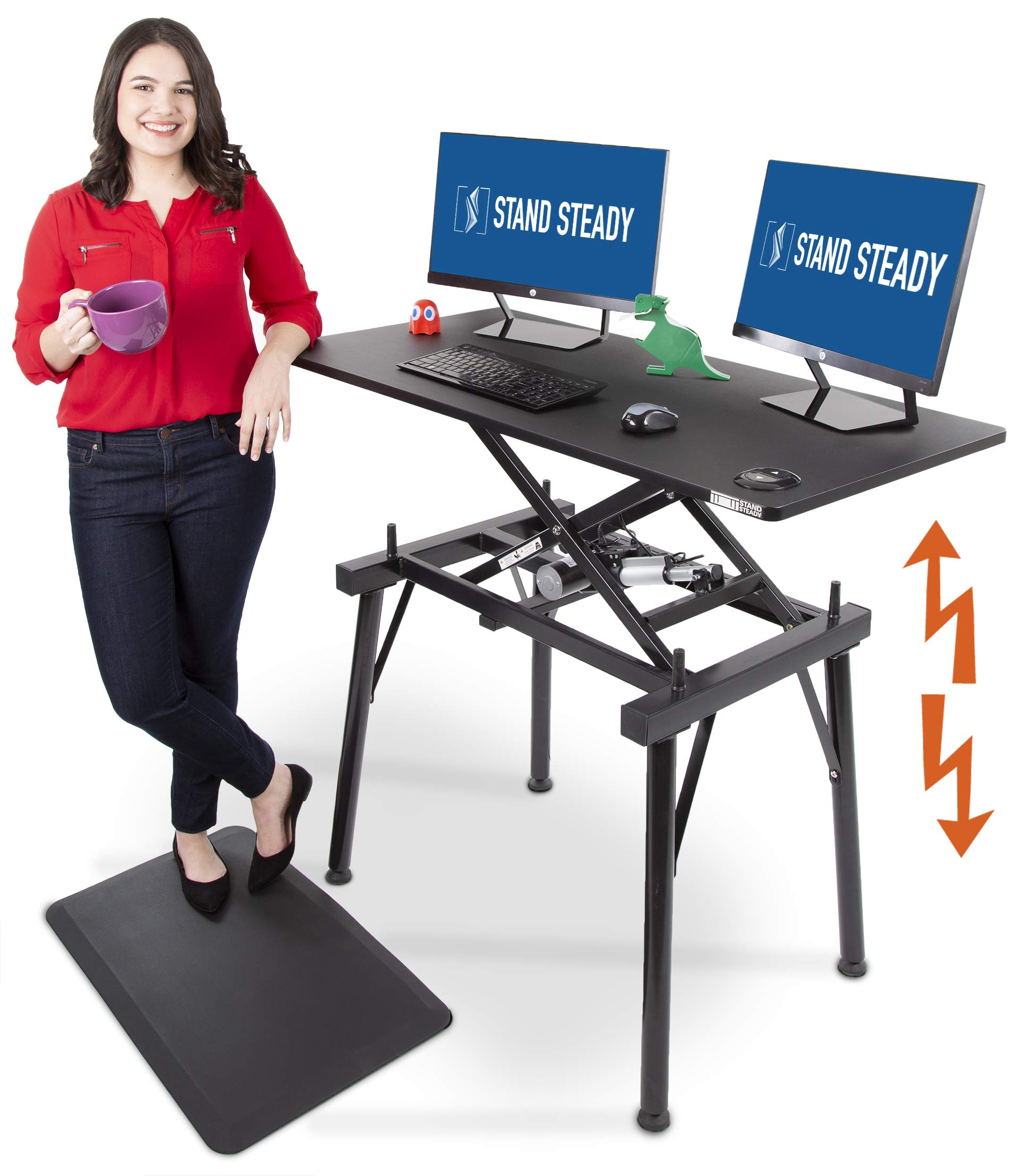 Stand Steady TranzForm - Electric Standing Desk - Transform Your Workspace - Switch from Sit to Stand with The Push of a Button - 48 Inch Full Size Stand Up Desk Perfect for Office or Home by Stand Steady