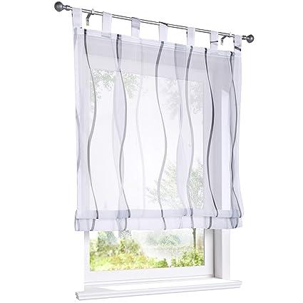 ESLIR Raffrollo mit Schlaufen Gardinen Küche Raffgardinen Transparent  Schlaufenrollo Vorhänge Mit Wellen-Druck Modern Voile Grau BxH 140x140cm 1  Stück