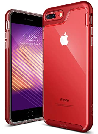 Caseology Skyfall for iPhone 8 Plus Case (2017) / iPhone 7 Plus Case (2016)  , Clear Back \u0026 Slim Fit , Red