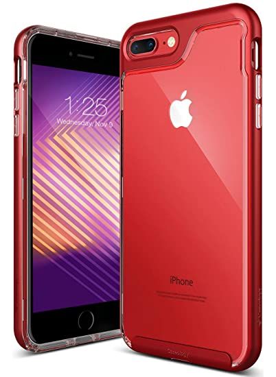 new product 37ca1 dae95 Caseology Skyfall for Apple iPhone 8 Plus Case (2017) / for iPhone 7 Plus  Case (2016) - Clear Back & Slim Fit - Red