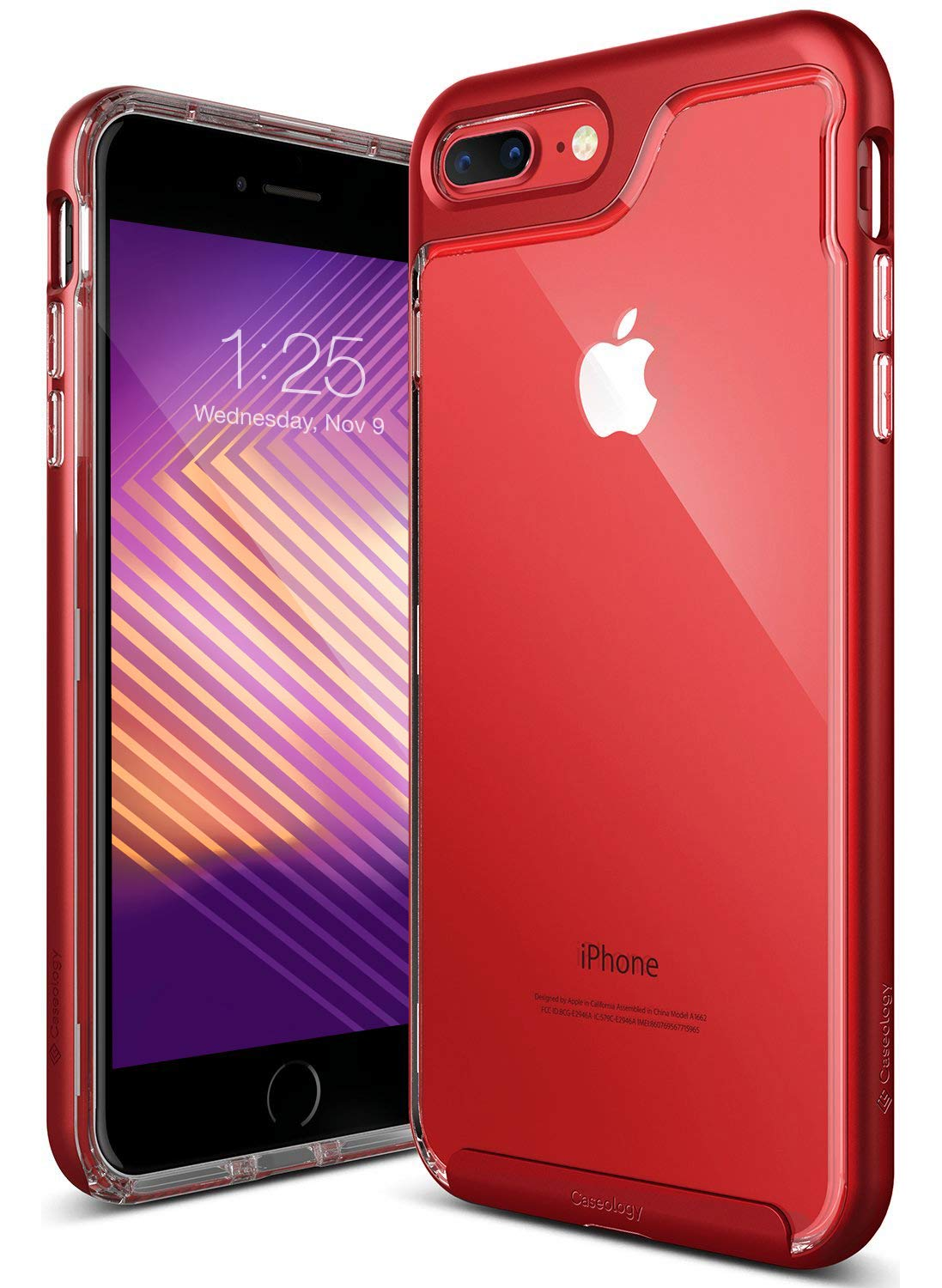 Caseology Skyfall Series iPhone 8 Plus / 7 Plus Cover Case Clear Slim Protective Apple iPhone 8 Plus (2017) / iPhone 7 Plus (2016) - Red