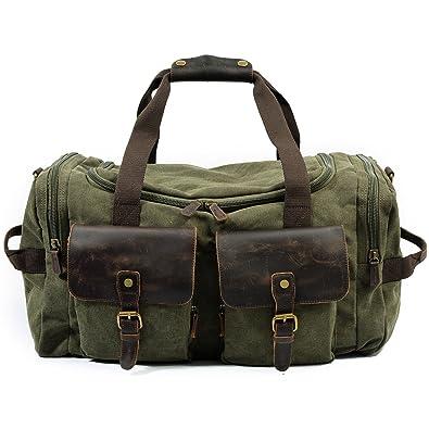 SONG-Q Hombres lona cuero bolsas de viaje llevan en bolsos ...