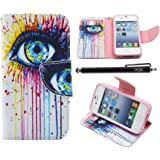 iPhone 4S Case, iPhone 4 Case Wallet, iYCK Premium PU Leather Flip Carrying Magnetic Closure Protective Shell Wallet Case Cover for iPhone 4 / 4S with Kickstand Stand - Colorful Eye