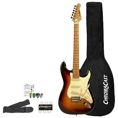 Diente de Sierra es serie St estilo guitarra eléctrica principiante de la guitarra con accesorios,